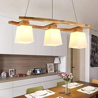 ZMH Lampe suspension rustique lampe de table à manger en bois Lampe suspendue E27 blanc chaud, lustre intérieur à 3 flamme...
