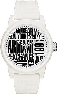 Armani Exchange Men's Analog-Quartz Silicone Strap, White, 22 Casual Watch (Model: AX1442)