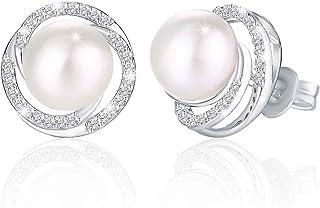 Swarovski Elements 925 Sterling Silver Non allergenic Pearl Studs Earrings for Females Women Ladies Girl friend Gift JRose...