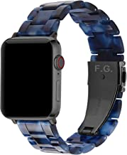 Fullmosa 7 Colores Correa de Resina Compatible con Apple Watch de 38mm 40mm 42mm 44mm, Correa Reloj para iWatch SE, Serie 6/5/4/3/2/1, Nike+ Deporte, 42mm Azul Oscuro/Herraje Gris