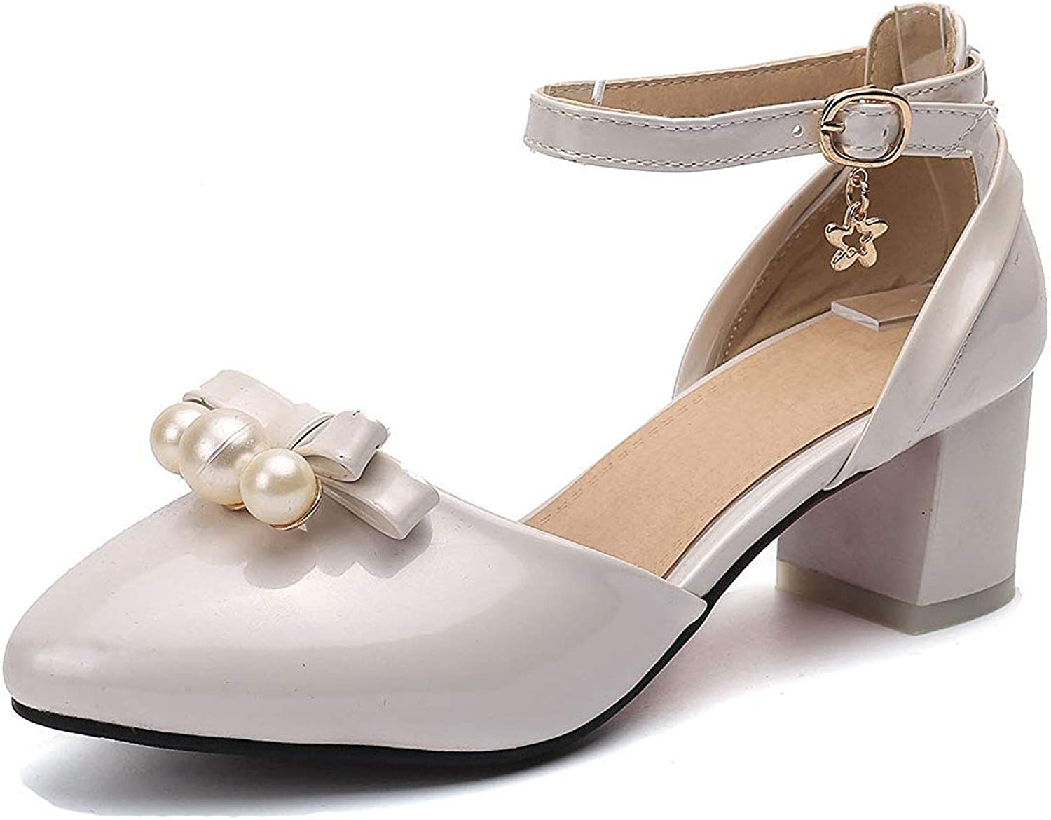 Unm Women's Mid Heel Sandals with Bows - Beaded Pointed Toe Buckled - Burnished Chunky Ankle Strap