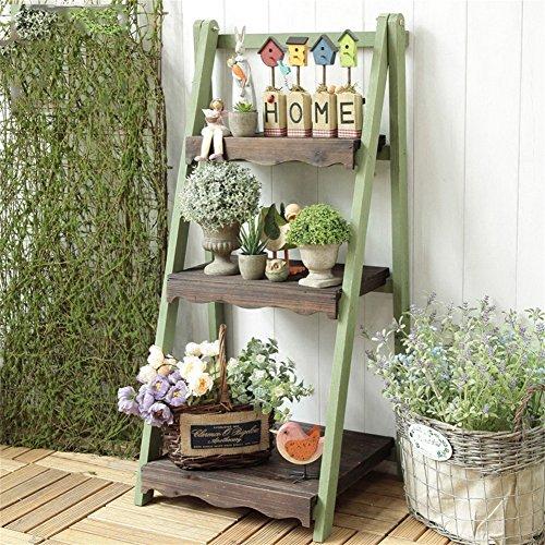 YA-RACK Zuhause Amerikanische Retro-hölzerne Blumen-Gestell- / Stand-Balkon-Dekoration 3-stöckiges Schaukel im Freien Garten