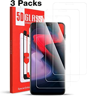 [3 Pack] Compatible for Oneplus 6 Screen Protector - Tempered Glass [Full Coverage] [Bubble-Free] HD Clear Anti Scratch Film for one 6 Plus Phone with Lifetime Replacement Warranty Black (Oneplus 6)