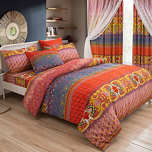 Lanqinglv Bohemian beddengoed 200×200 cm Boheems omkeerbaar beddengoed set Indiase mandala bloemenpatroon vintage rood…