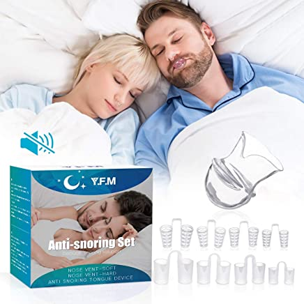 Snore Stopper, Y.F.M Snore Protection Anti Snore Splint with Tongue Cover, Helps Anti-Snoring, BPA-Free, No More Snoring, Clenching, and Tooth Grinding