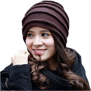 MUZIWENJU Winter Wool Knit Hat, Ladies Double-Knit Hat Warm Hat Unisex Suitable for Head Circumference 56-60cm (Color : Brown)