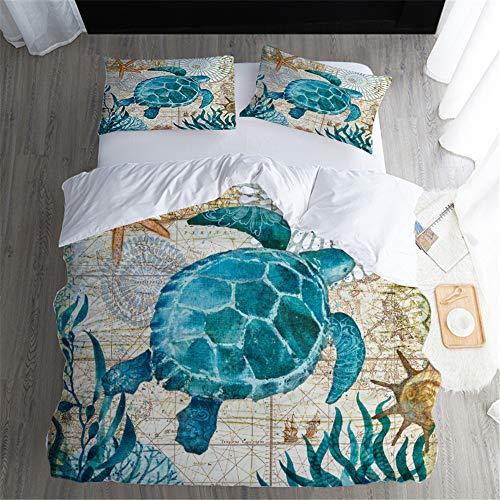 BH-JJSMGS Ropa de Cama Underwater World Quilt Cover, Funda nórdica de Microfibra de poliéster, Turtle 173cmx218cm