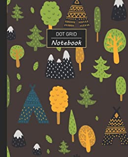 """Dot Grid Notebook: Dotted Grid Notebook/Journal - Forest Woods camping Tent Indian Mountain - 100 Pages - 7.5"""" x 9.25"""" - C..."""