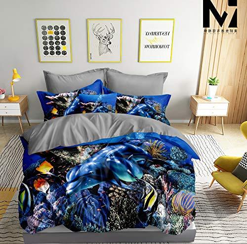 Juego de cama 3D delfín (funda nórdica de 135 x 200 cm y funda de almohada de 80 x 80 cm), diseño de delfín, color azul y gris