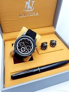 ساعة يد رجالية مع قلم وكبك