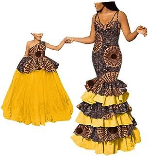 African Dresses for Women Mother Kid Daughter Toddler Skirt Dashiki Ankara Mermaid Curves