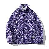 Camisa Floral Europea y Americana para Hombres, Estampado de Moda de otoño, botón único, Costura de Bolsillo, Camisa Superior Informal Suelta y Vintage XXL