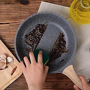 ZUOFENG Nonstick Bratpfanne Pfannen, 20cm Granitbe Stone Pfanne, Omelette Bratpfanne. (Grau, 8-Zoll)