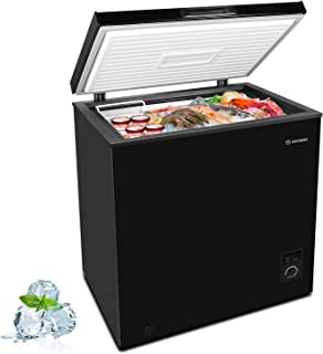 MOOSOO Chest Freezer, 5.0 Cubic Feet with Removable Storage Basket Deep Compact Freezer 5 Gears Temperature Control Energy...