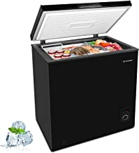 MOOSOO Deep Freezer Chest, 5.0 Cubic Feet,with Removable Storage Basket Compact Freezer, 5 Gears Temperature Control,Energ...