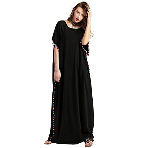 46e5e201f2 Floerns Women's Pom Pom Trim O Neck Casual Loose Maxi Kaftan Dress