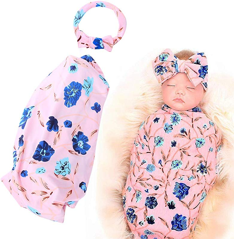 2Pcs Infant Swaddle Receiving Blanket With Headband Set Carnation Floral Pattern Printing Baby Swaddle Wrap 1