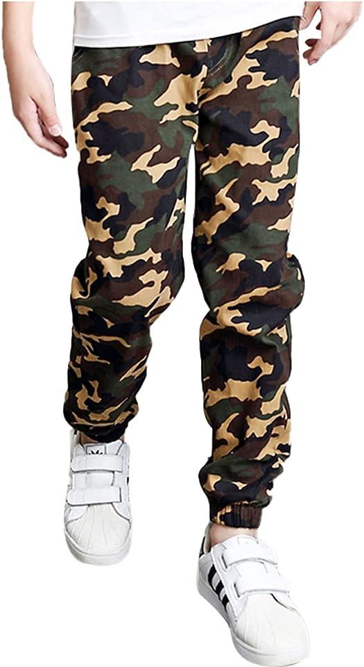 Cargohose Kinder Jungen Camouflage Hose Jogginghose Lange Pants Sport Fitness Training Hose mit Gummizug und Tasche