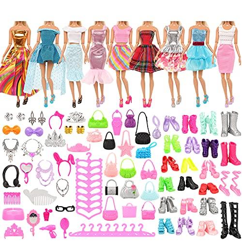 Miunana 75x = 5 Vestidos + +10 Zapatos + 10 Bolsas + 10 Perchas + 40 Accesorios Fashion para 11.5 Pulgadas 28 -30 CM Muñeca