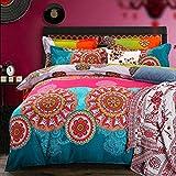 Mitchell Juego de ropa de cama Boho, 200 x 200, rosa, turquesa, mandala, estilo bohemio, funda nórdica 100 % microfibra, diseño indisco, reversible, con fundas de almohada de 80 x 80 cm, cremallera