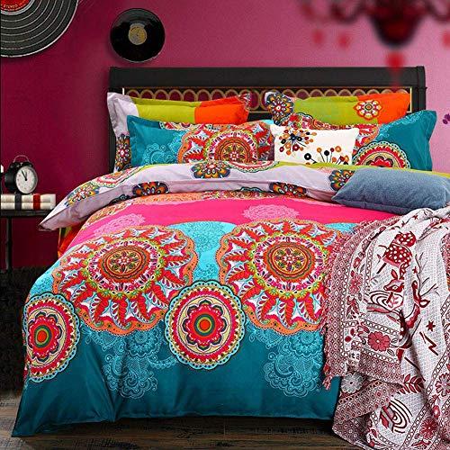 Mitchell Juego de ropa de cama Boho, 200 x 200, rosa, turquesa, mandala, estilo bohemio, funda nórdica 100 % microfibra, diseño indisco, reversible, con fundas de almohada de 80 x 80 cm, crema