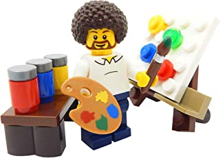 LEGO Hippie Artist with Easel, Paint, & Paintbrush Toy - Custom Painter Minifigure
