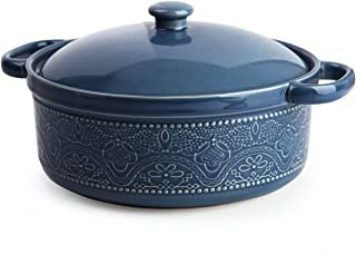 Casserole Dish with Lid, 1.8 Quart Ceramic Casserole Pan with Lace Emboss for Bakeware Oven (Blue)