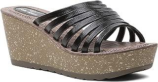 pelle albero Womens Black Platform Heel Slippers