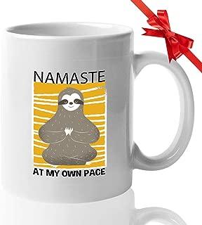 Sloth Mug 15 Oz - Namaste At My Own Pace - Yoga Meditation Buddhism Relax Calm Lazy Sleepy Australian Meditating Gift For Sister Kids Friend Coworker