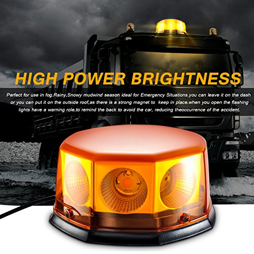 8 COB Gyrophare Magnetique Orange LED Voiture Clignotant Gyrophare Signal d'Avertissement Lumière d'Alarme Lumière pour Voiture Bateau Toit. (40W)