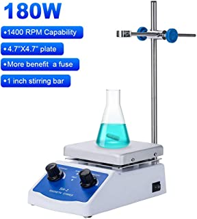Magnetic Stirrer Hot Plate Mixer 1000ml Stirring Capacity 5 x 5 inch Max 716︒F Hotplate and 100-2000 RPM Stirrer, Stirring Bar & Support Stand Included