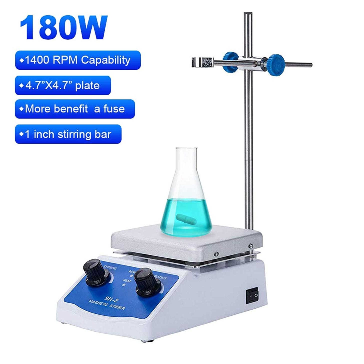 Magnetic Stirrer Hot Plate Mixer 1000ml Stirring Capacity 5 x 5 inch Max 716?F Hotplate and 100-2000 RPM Stirrer, Stirring Bar & Support Stand Included