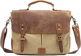 Mens Bag Office Canvas Vintage Style Briefcase Shoulder Messenger Crossbody Satchel Bag Holder for Men Business, Brown/Gray/Green/Khaki High capacity