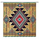 AMHNF Southwestern Duschvorhang Indianer Retro Azteken Tribal Navajo Ethnisch Indisch Vintage geometrisches Muster Abstrakt Rustikal Badezimmer Dekor Polyester Stoff Dekor Gardinen mit Haken