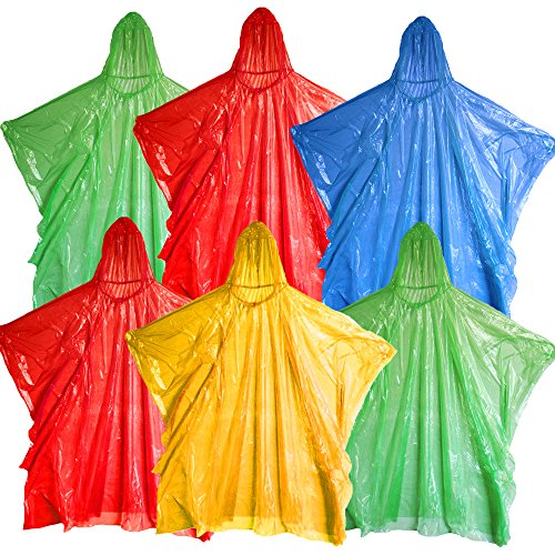 Emergency Rain Poncho, Pack of 6 Disposable Assorted Unisex Emergency Rain Poncho Waterproof Reusable Rain Coats With Hoods - Perfect For Festivals, Camping & Theme Parks