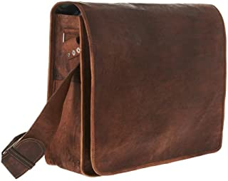 TUZECH Genuine Leather Bag Handmade Vintage Rustic Cross Body Messenger Courier Satchel Bag Gift Men Women Its Laptop Up to (15 Inches)