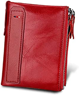 Dlife Vintage Cowhide RFID Blocking Wallet Genuine Leather Double Zipper Coin Pouch Bifold Short Wallet Handy Purse Bag (Vintage 2-Red)