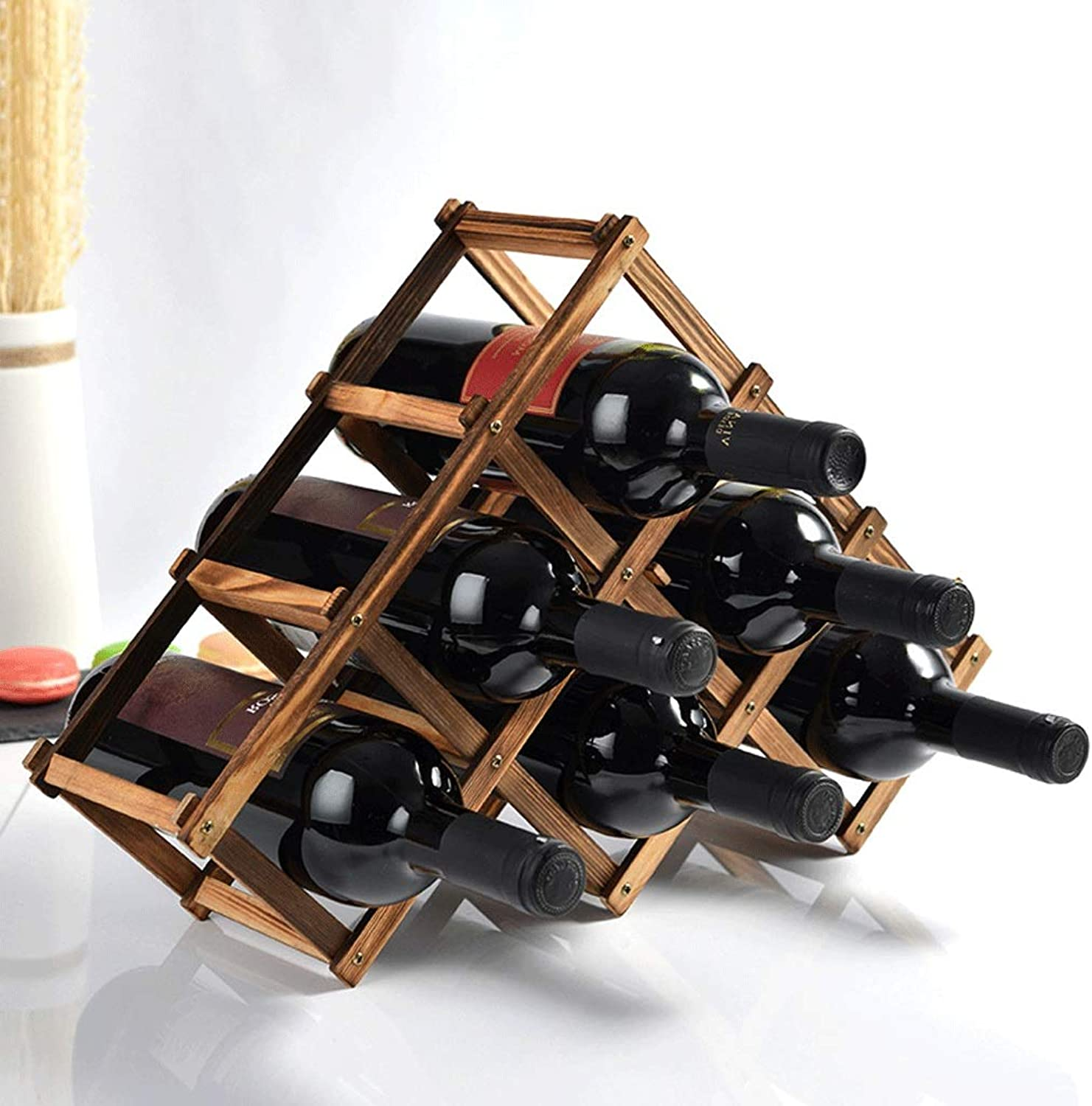 Wine Rack Living Room Home Wine Rack Display Wine Cabinet Decoration Simple Creative Wooden Wine Rack Can Be Folded (color   Wood color)