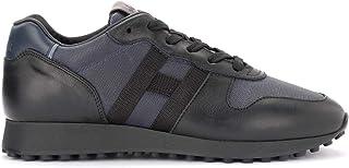 Hogan Sneakers H383 in Pelle E Tessuto Blu E Nera, Taglia UK: