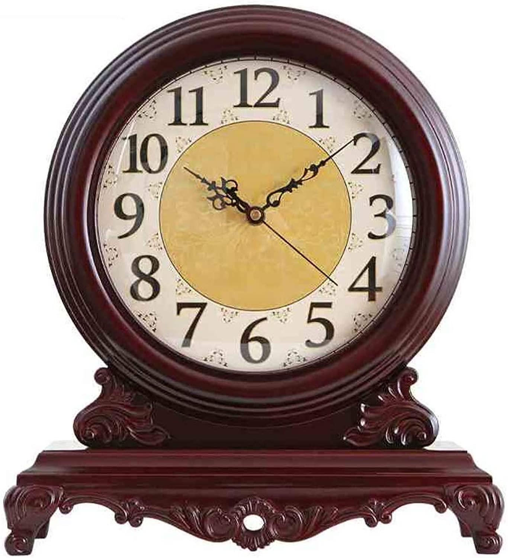 デスククロックファミリークロック新古典派時計、大型ソリッドウッドクリエイティブヨーロッパレトロミュートクロック装飾品、リビングルーム/ベッドルームに最適リビングルームのベッドルームオフィスに最適