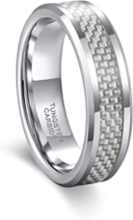 6mm 8mm White/Blue Carbon Fiber Tungsten Carbide Wedding Band Ring for Men Women Size 4.5-15