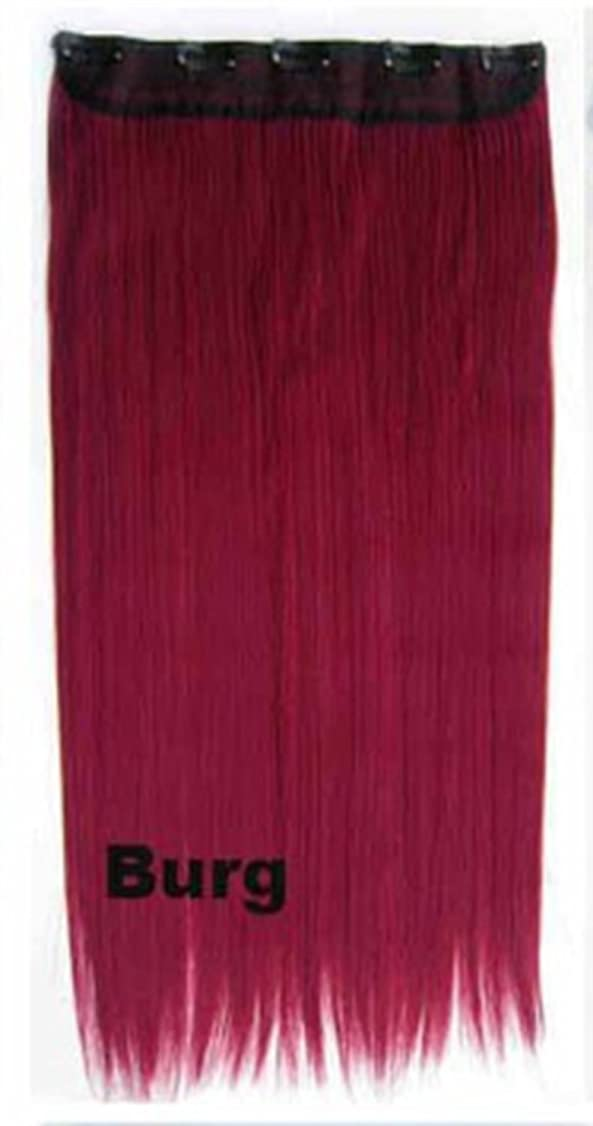 放棄する輝く本質的ではないDoyvanntgo 60cm / 150g 5つのクリップヘアエクステンションワンピースロングストレートコスプレウィッグ複数色オプション (Color : Burg)