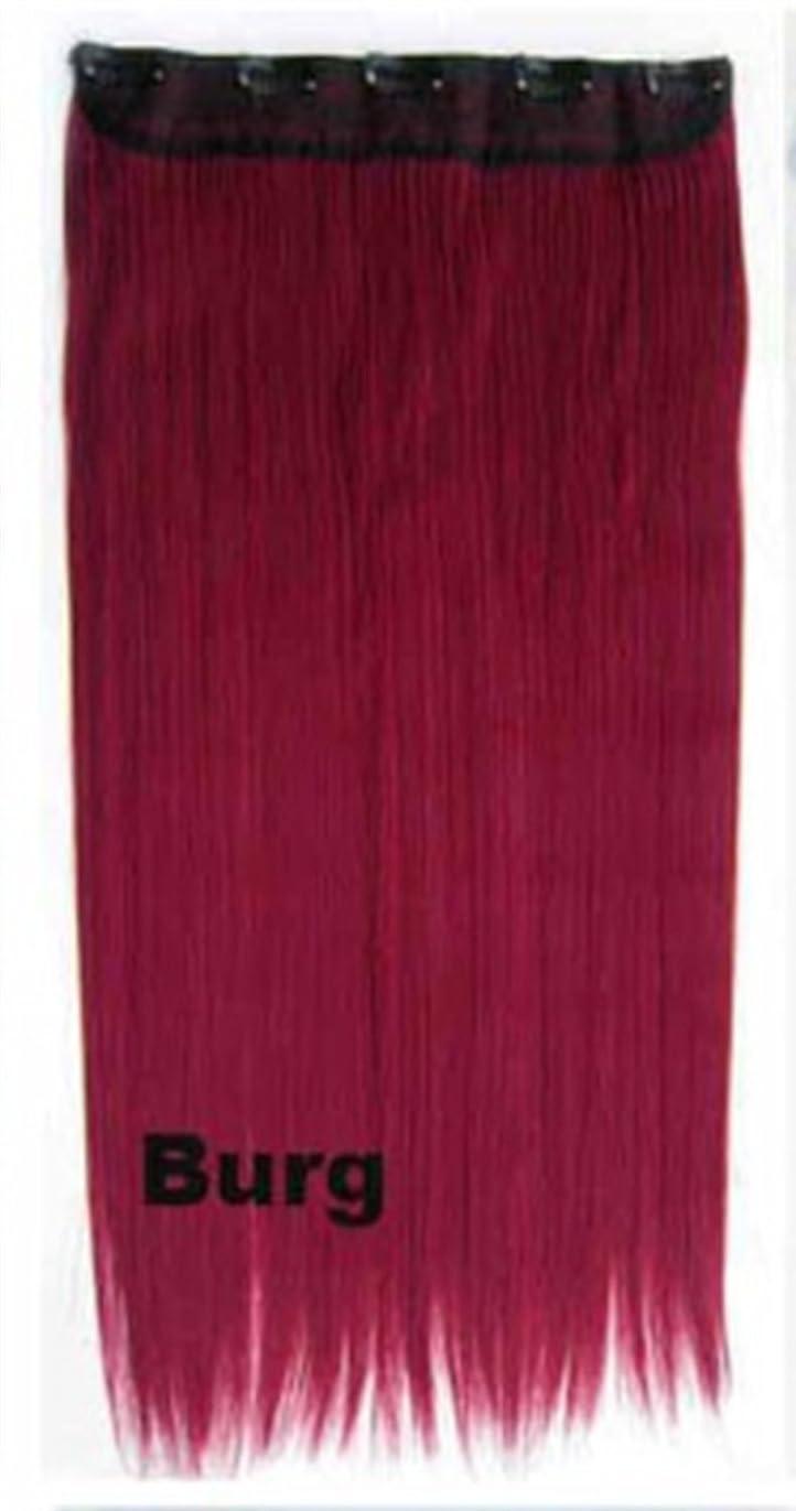リーチ細断火薬Koloeplf 女性 60cm / 150g 5つのクリップ ヘア エクステンション ワンピース 長いストレート 化学繊維 コスプレ ウィッグ 複数色 オプション (Color : Burg)