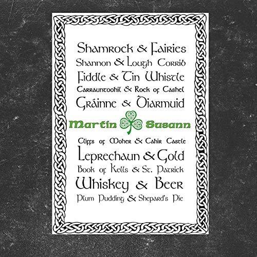 TinyTami ★ Kunstdruck Hochzeitsgeschenk ★ Irland Liebe ★ Individuell ★ A4 oder A3 ★ Fineart Print ★ Poster ★ Bild keltisch ★ Kelten ★100% handmade