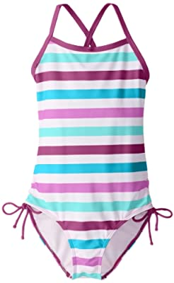 Kanu Surf Girls' Big Bali Beach Sport Banded 1 Piece Swimsuit, Sassy Purple Stripe, 10