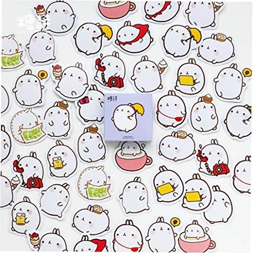 Cute Molang Rabbit Label Stickers Set Decorative Stationery Stickers Aimeio Super Cute Cartoon Animals Album Stick Lable