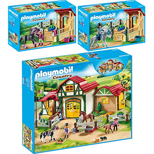 """PLAYMOBIL® Country 3er Set 6926 6934 6935 Großer Reiterhof + Pferdebox """"Araber"""" + Pferdebox """"Appaloosa"""""""