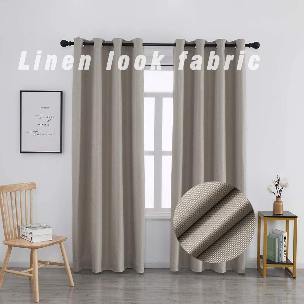 WdFour Super Elegant Faux Linen 初回限定 Blackout 驚きの値段で Te Curtains Look