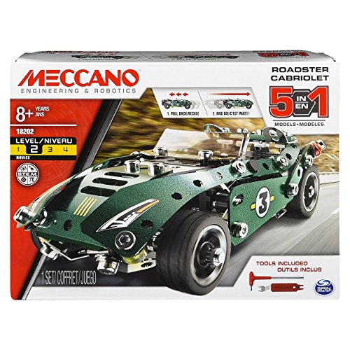 MECCANO by Erector 5 in 1 Roadster Pull Back Car Building Kit, STEM Engineering Education Toy for Ages 8 And up, Multicolore, 175 Pezzi, 6040176