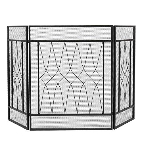 CIPACHO Tri-Fold Spark Guard Fireplace Panels Durable Frame and Iron Mesh Fireplace Screen (Square)